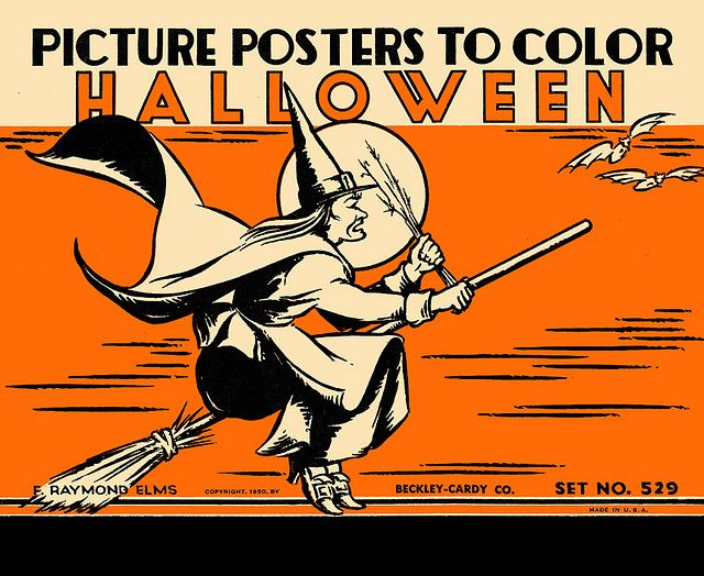 1950s beckley cardy halloween coloring posters vintage halloween decorations - Halloween Vintage Decorations