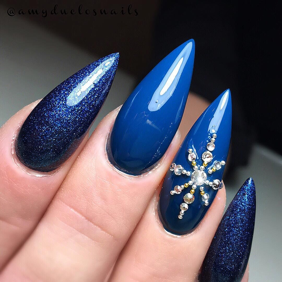 Long Blue Almond Nails For Christmas Manicure For
