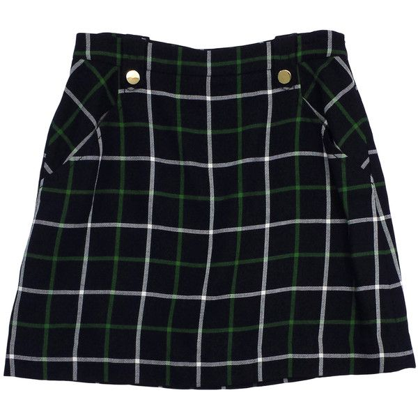 Pre-owned Kate Spade Navy & Green Plaid Wool Skirt (€90) ❤ liked on Polyvore featuring skirts, bottoms, navy wool skirt, tartan plaid skirt, wool skirts, blue wool skirt and blue skirt
