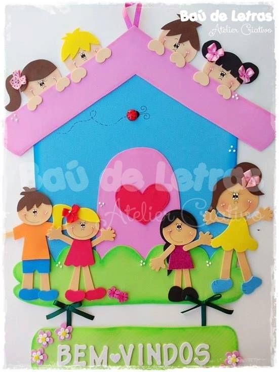 Cartel Para Puerta Con Niños Goma Eva Moldes Arte De Preescolar Niños Goma Eva Decoración Preescolar