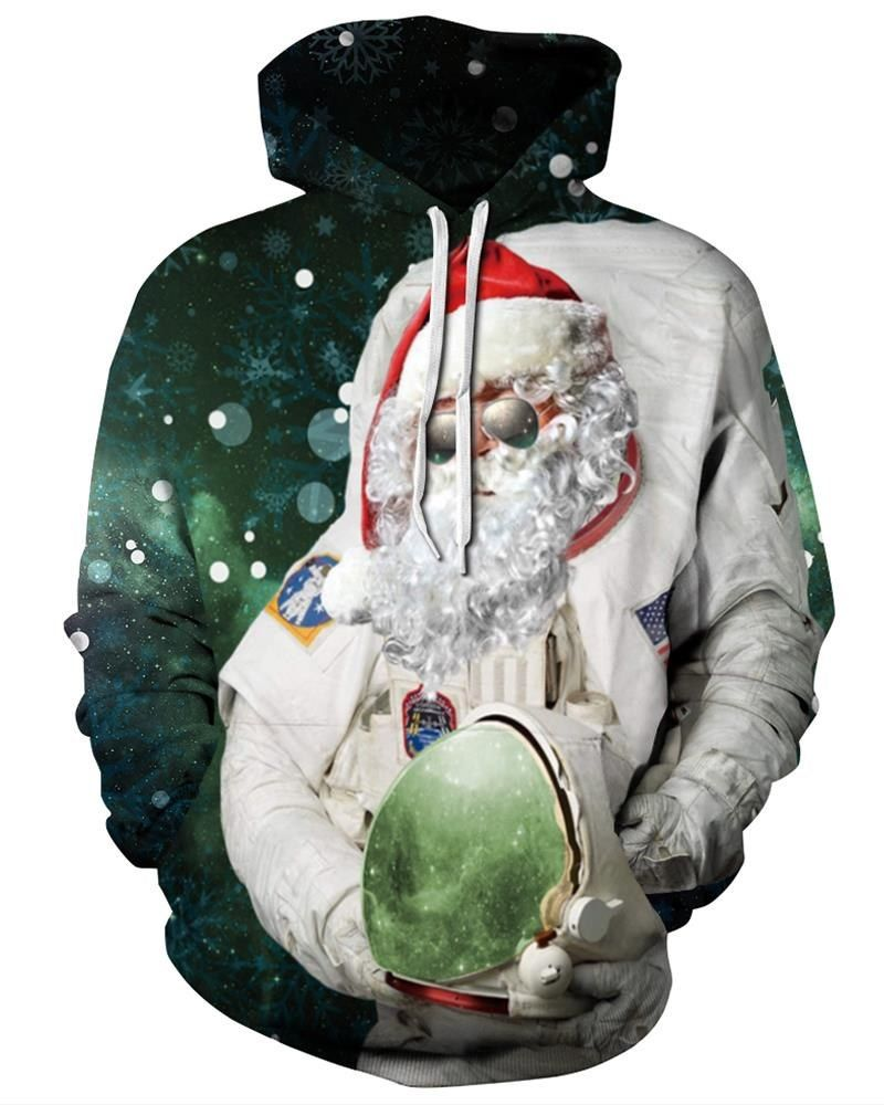2fa34f78f0a3 Long Sleeve Christmas Santa Claus Astronaut Pattern 3D Painted ...
