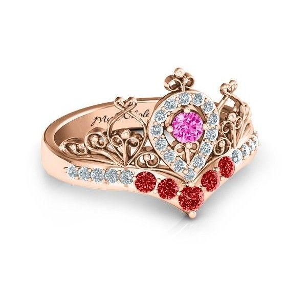 14K Rose Gold Queen My Heart Tiara Ring $9 ❤ liked on