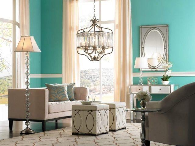 wohnideen-wohnzimmer-mid-century-stil-minzgrün-türkis-wandfarbe