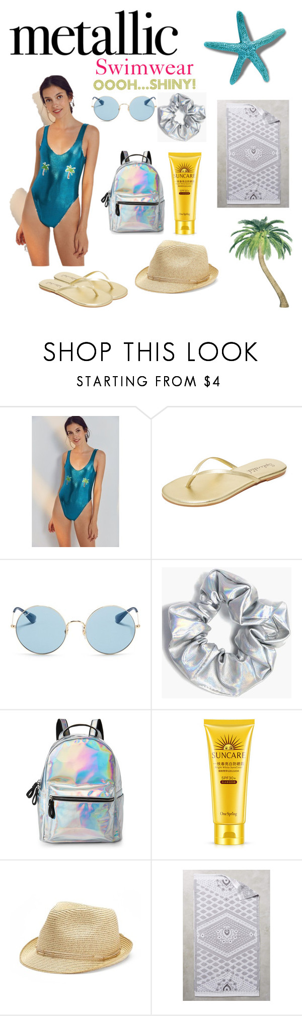 """Metallic Swimwear...Shiny!"" by braceface04 ❤ liked on Polyvore featuring Private Party, Splendid, Ray-Ban, Boohoo, IMoshion, SONOMA Goods for Life and Anthropologie"
