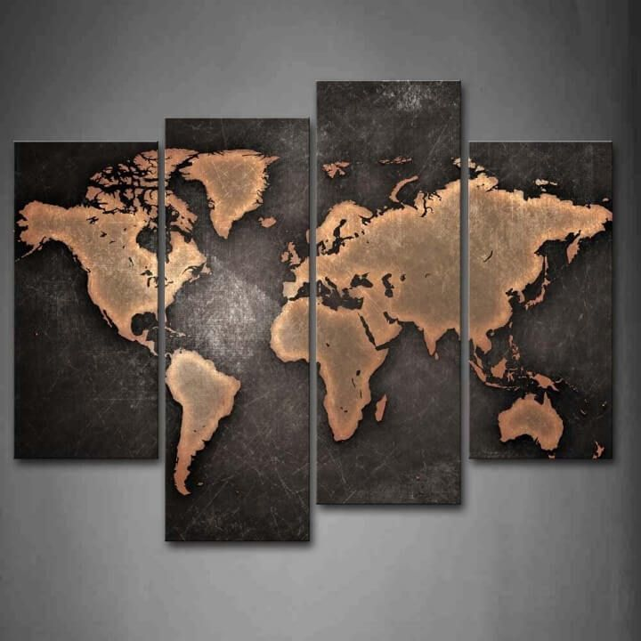 world map black background wall art