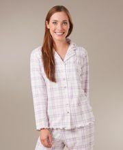 Cotton-Rich Knit Long Sleeve Pajama Set By Aria - Heather Glen Plaid