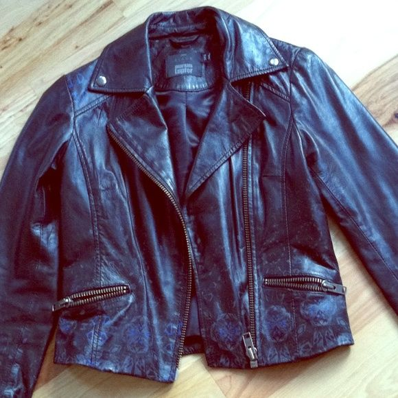 """100% genuine leather black motorcycle jacket xs Gorgeous and in excellent condition is this black leather motorcycle style jacket by Markus Lupfer for ASOS black. Soft leather with blue and grey design towards bottom --from a distance it appears distressed from design. In pristine condition!!  More pictures available upon request. Ask any questions! 35"""" around chest, 19"""" shoulder to hem, sleeves measure 24"""" long. ASOS Jackets & Coats"""