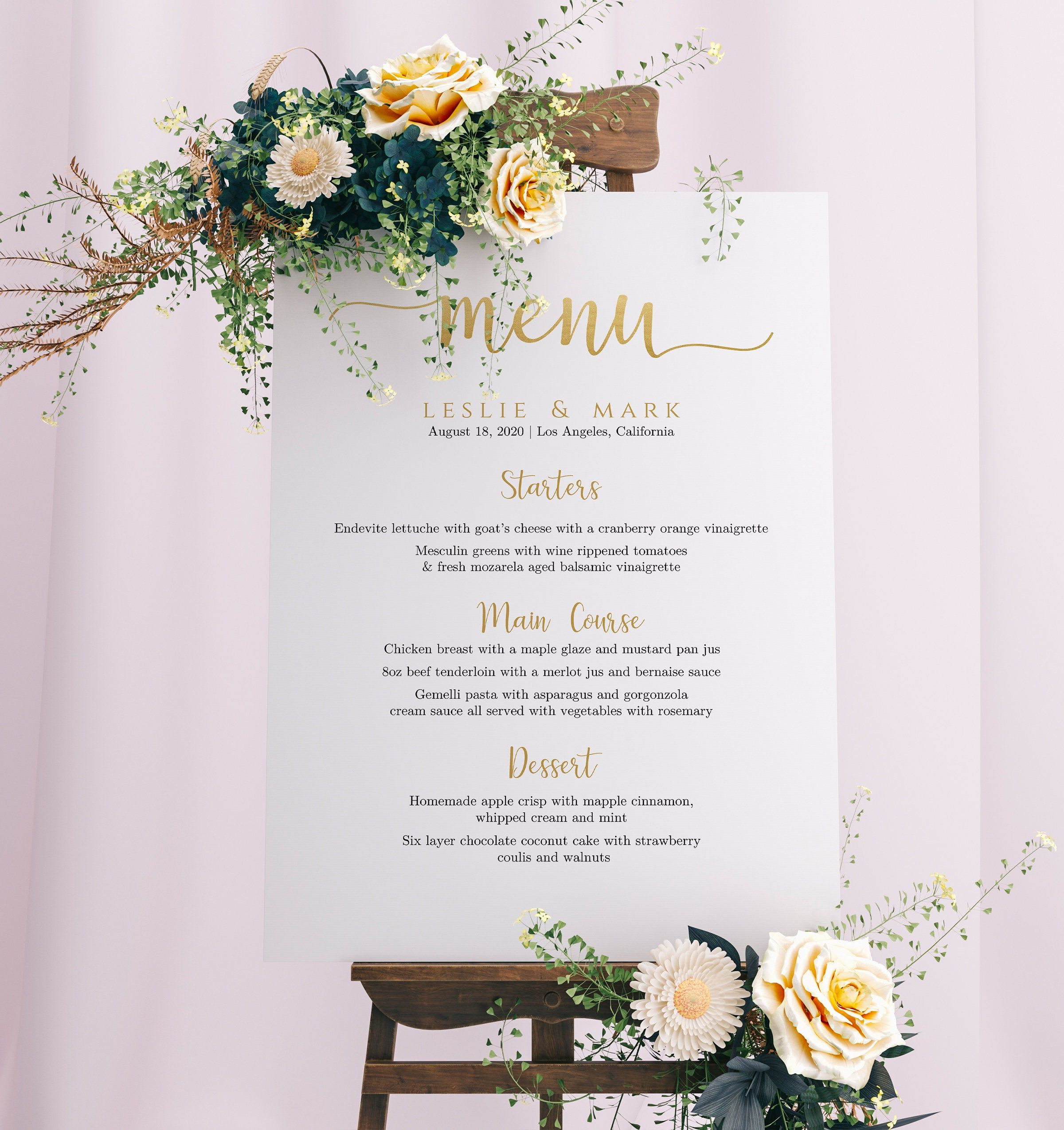 Wedding Menu Sign Template Printable Wedding Menu Board Diy Wedding Menu Poster Wedding Sign Printable Wedding Menu Wedding Menu Template Wedding Printables