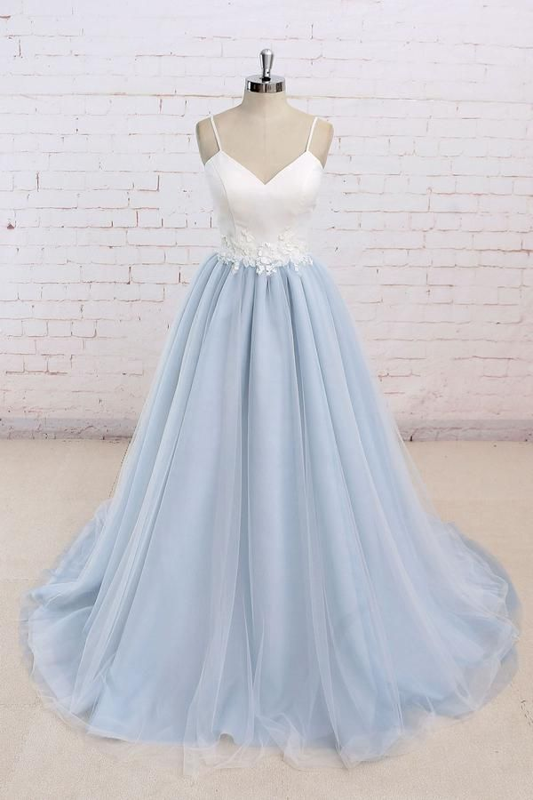 Simple blue tulle long prom dress, tulle wedding dress