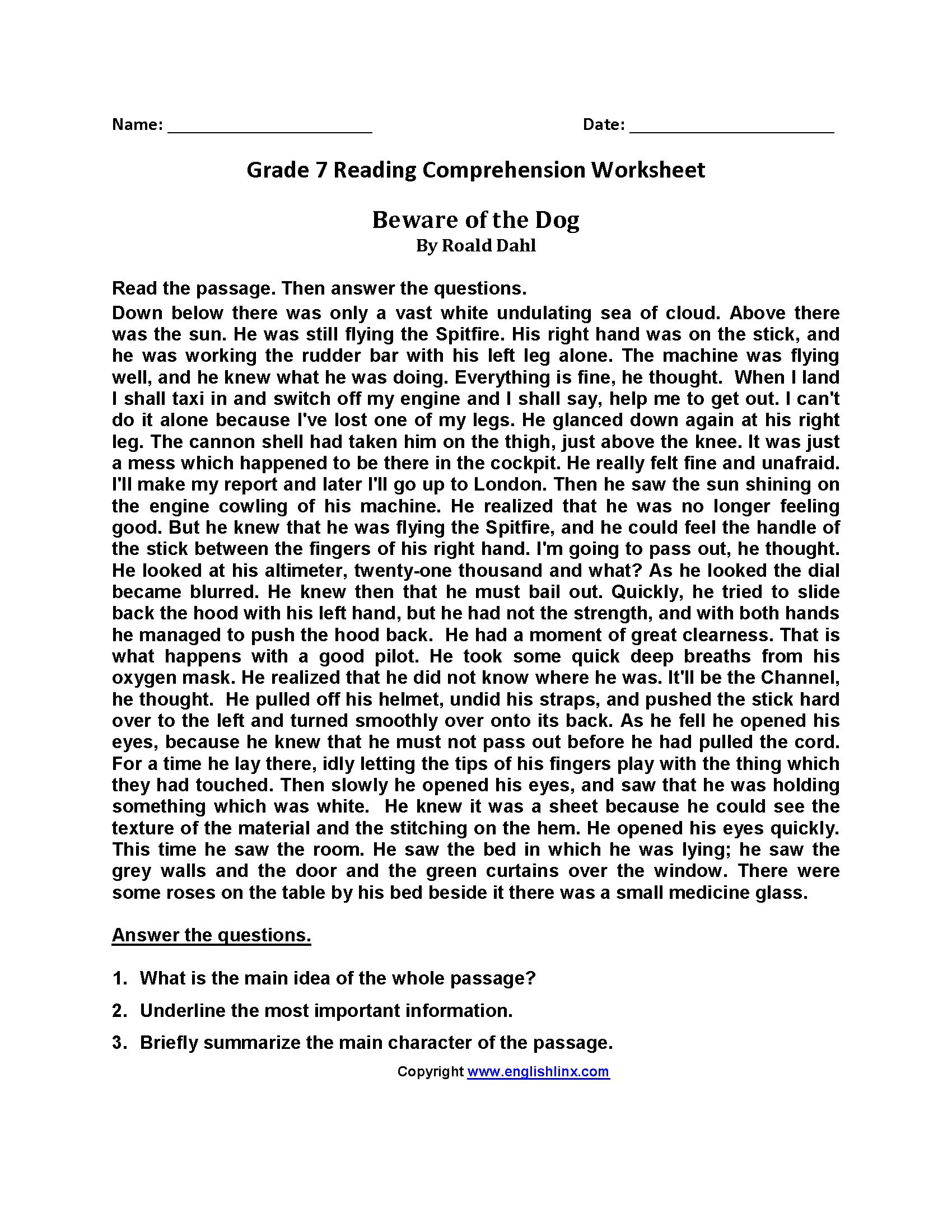 Beware of the Dog\u003cbr\u003eSeventh Grade Reading Worksheets   7th grade reading [ 2200 x 1700 Pixel ]