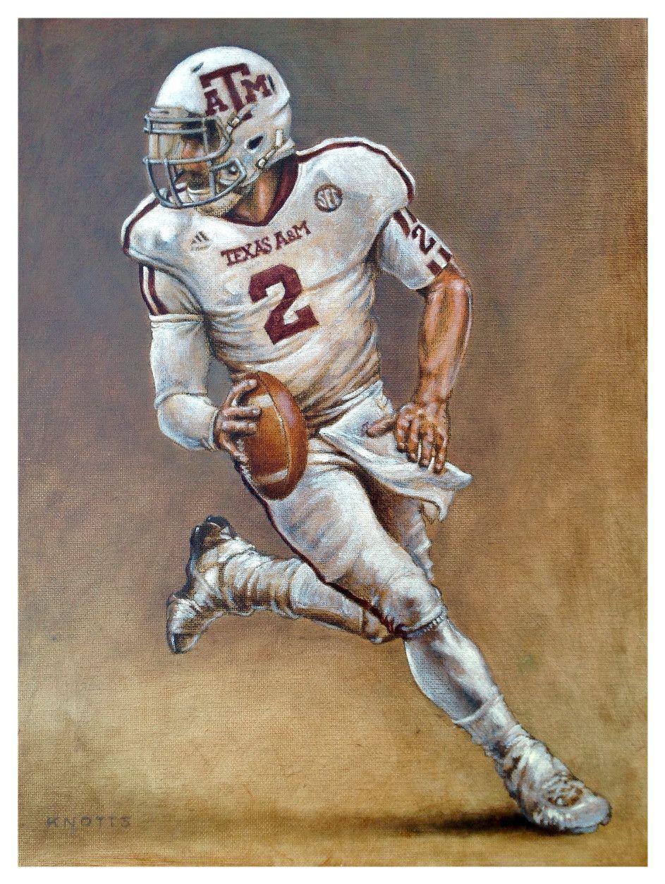 Johnny Manziel Oil On Canvas 12x16 2012 Heisman Winner Texas A M University Artist Steve Knotts Texasaggies Johnny Manziel Aggie Football Ncaa Football