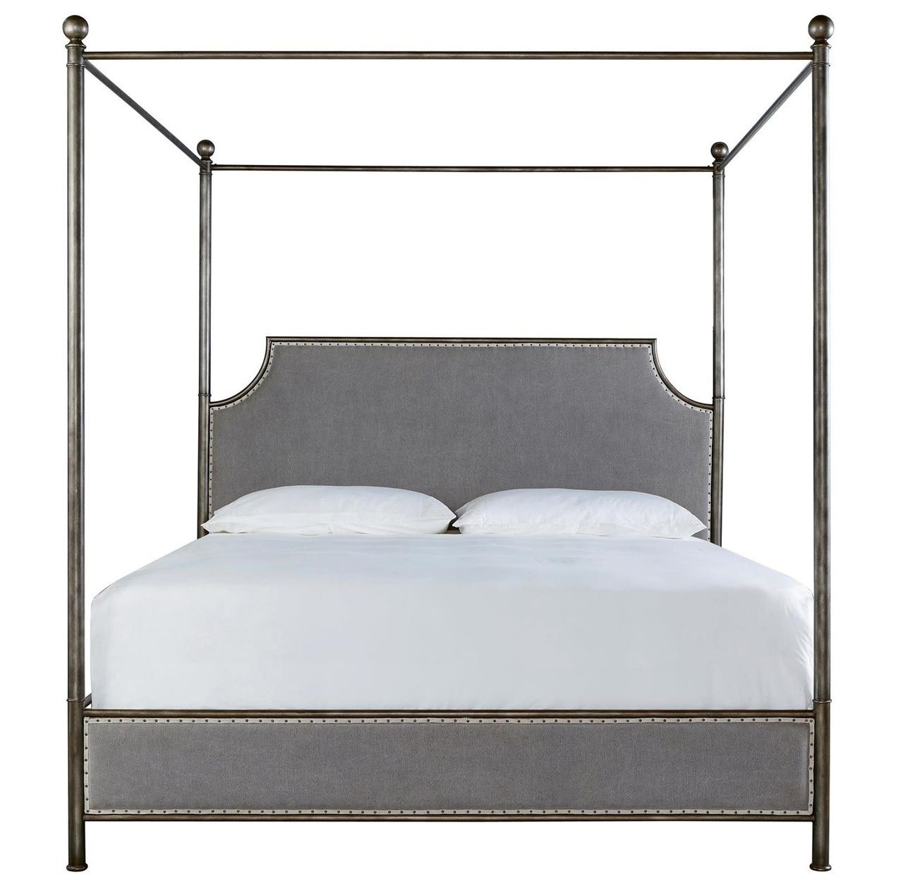 Sojourn Grey Linen Upholstered Queen Iron Canopy Bed
