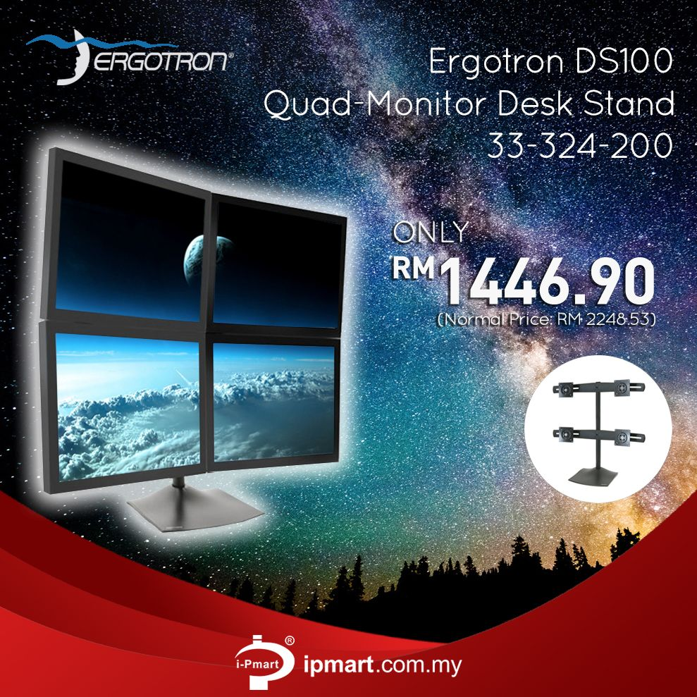 Ergotron Ds100 Quad Monitor Desk Stand Allows You To View Multiple Displays Simultaneously On An Extremely Stable Platform View M With Images Quad Standing Desk Monitor