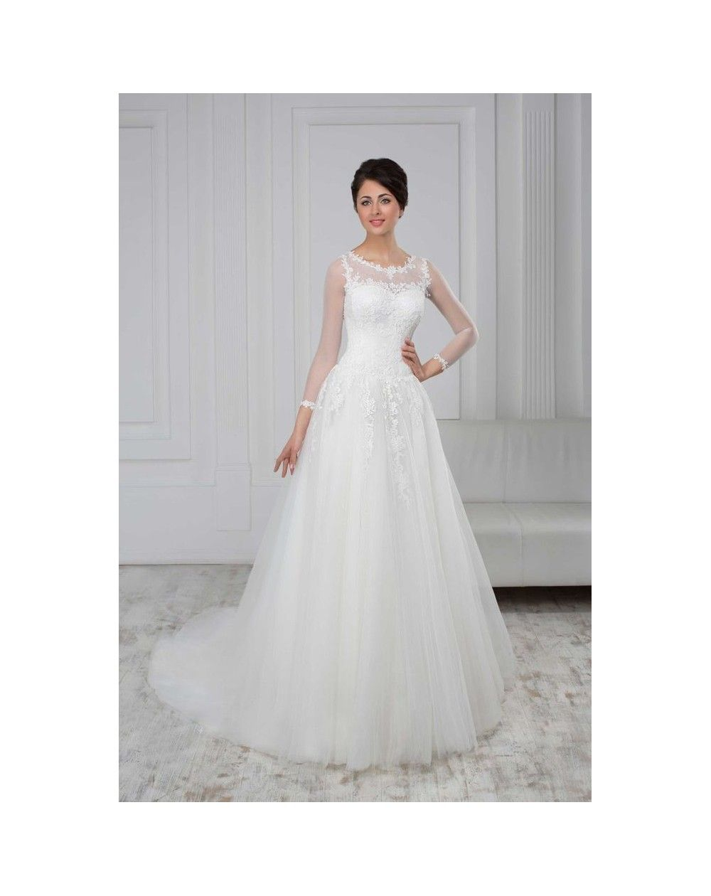 4df213f0fbeb Značkové svadobné šaty na predaj áčkového strihu s krajkovaným živôtikom s  dlhými priesvitnými rukávmi