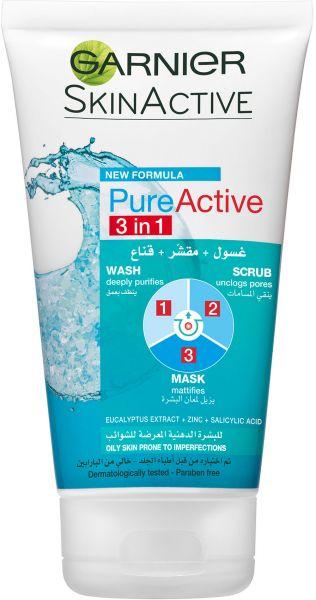 Garnier Pure Active 3 In 1 Wash Scrub And Mask 150ml Beauty Skin Care Routine Skin Care Mask Garnier Skin Active