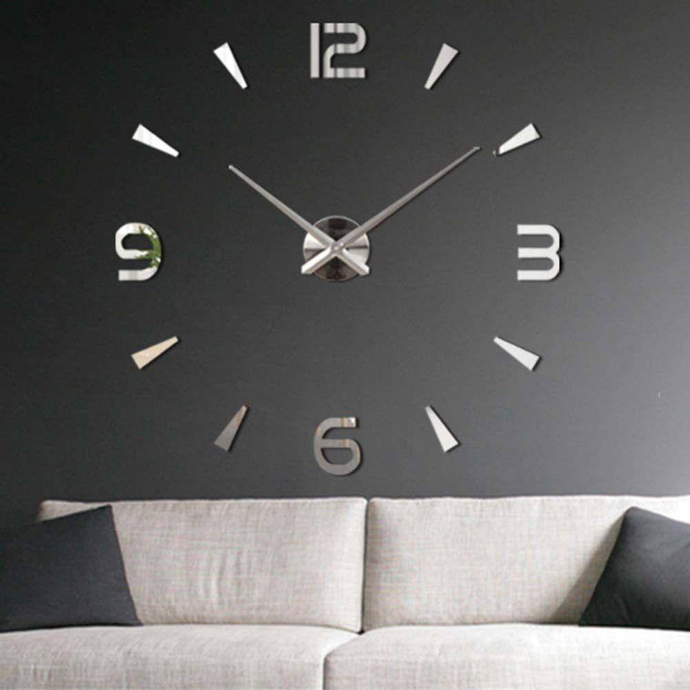 Brand New Stylish Modern DIY Wall Clock 3D MirrorSsticker Home Decor 4 Colors