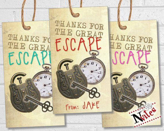 graphic relating to Printable Escape Room Free named Escape Space Thank Your self Tags for Escape Place Occasion, Escape