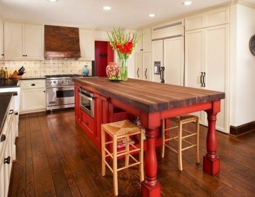 9 Foot Kitchen Island 9 foot, black walnut, red island & viking range with custom patina