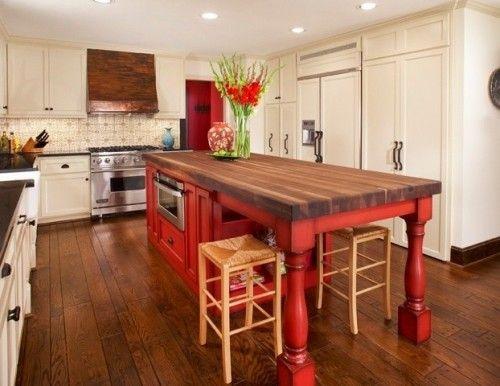 9 Foot Kitchen Island 9 foot, black walnut, red island & viking range with custom patina