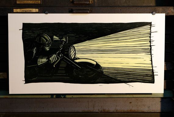 Night Rider linocut reduction print by Isle of Printing in Nashville, on Etsy