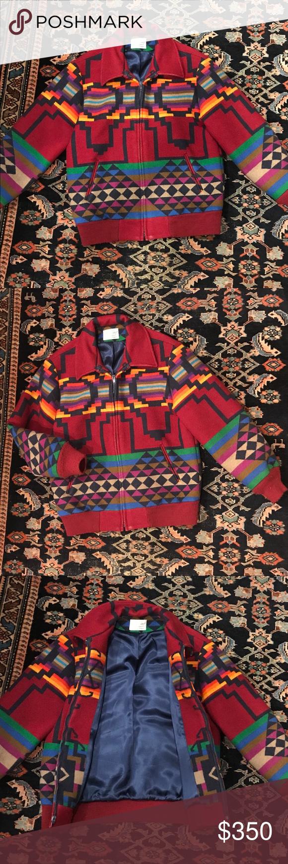 b7c735f10 RARE VTG Pendleton Aztec Print Wool Bomber Rare vintage vibrant ...