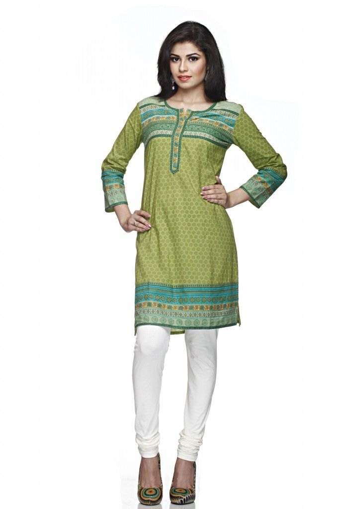 62a9553e1c A parrot green coloured printed kurta for women from Sabhyata. Made from  cotton, this