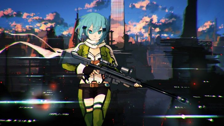 Download Sinon Sniper Rifle Wallpaper HD Girl GGO 2560x1440