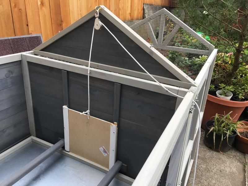 Built A Front Door Will Add Chicken Wire To Cover Exposed Gap Chickens Chicken Coop Coop