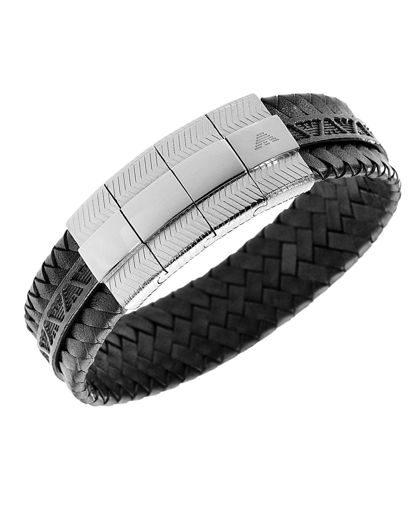 Emporio Armani Men's Bracelet, Stainless Steel And Black Leather Bracelet  Egs1534  Fashion Jewelry