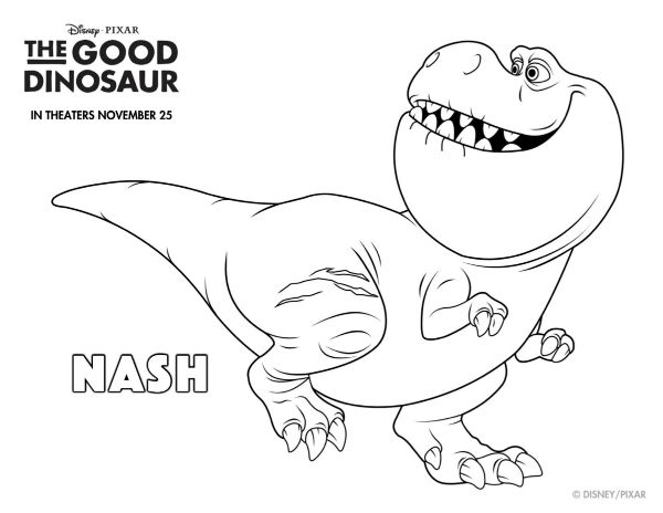 disney the good dinosaur free printable nash coloring page ... - Dinosaur Printable Coloring Pages