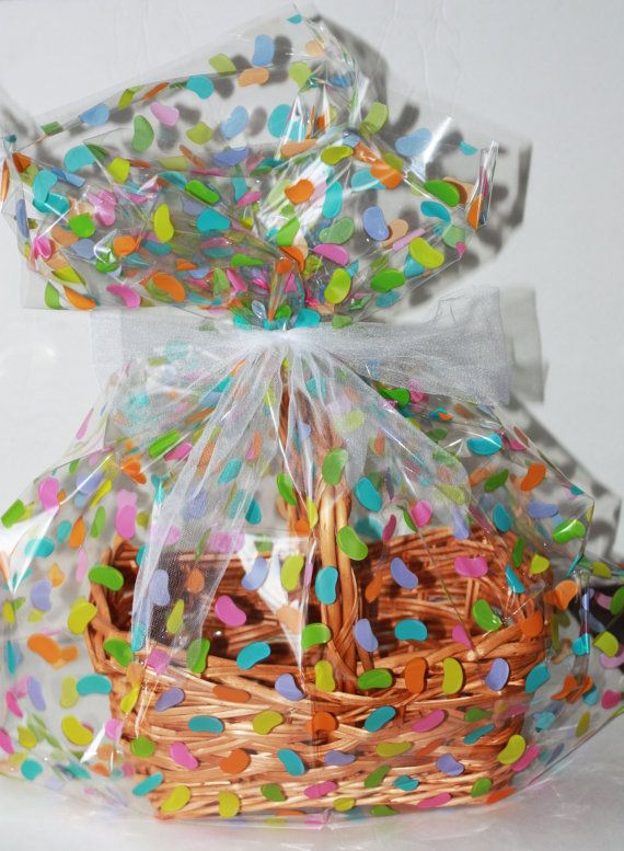 Zebra dot plastic cellophane basket gift wrap bag easter gift easter jelly beans plastic cellophane basket gift wrap bag easter gift baskets cello gift negle Image collections