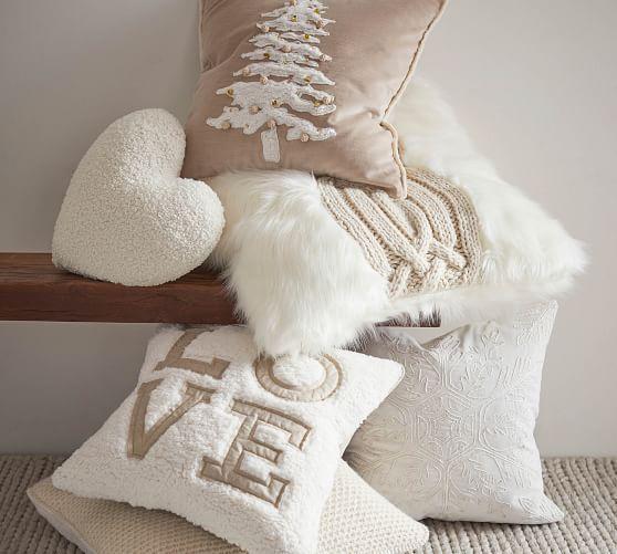 Velvet Sherpa Tree Applique Pillow Cover Velvet Sh