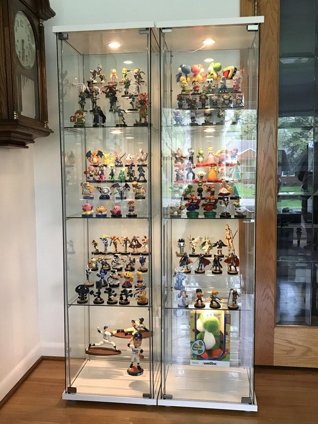 Reddit Amiibo Finally Assembled Cabinets Easy Access For All Glass Display Shelves Glass Cabinets Display Glass Shelves