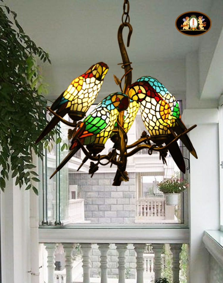 Vintage Tiffany Style Stained Glass Retro Five Parrot Pendant Lamp