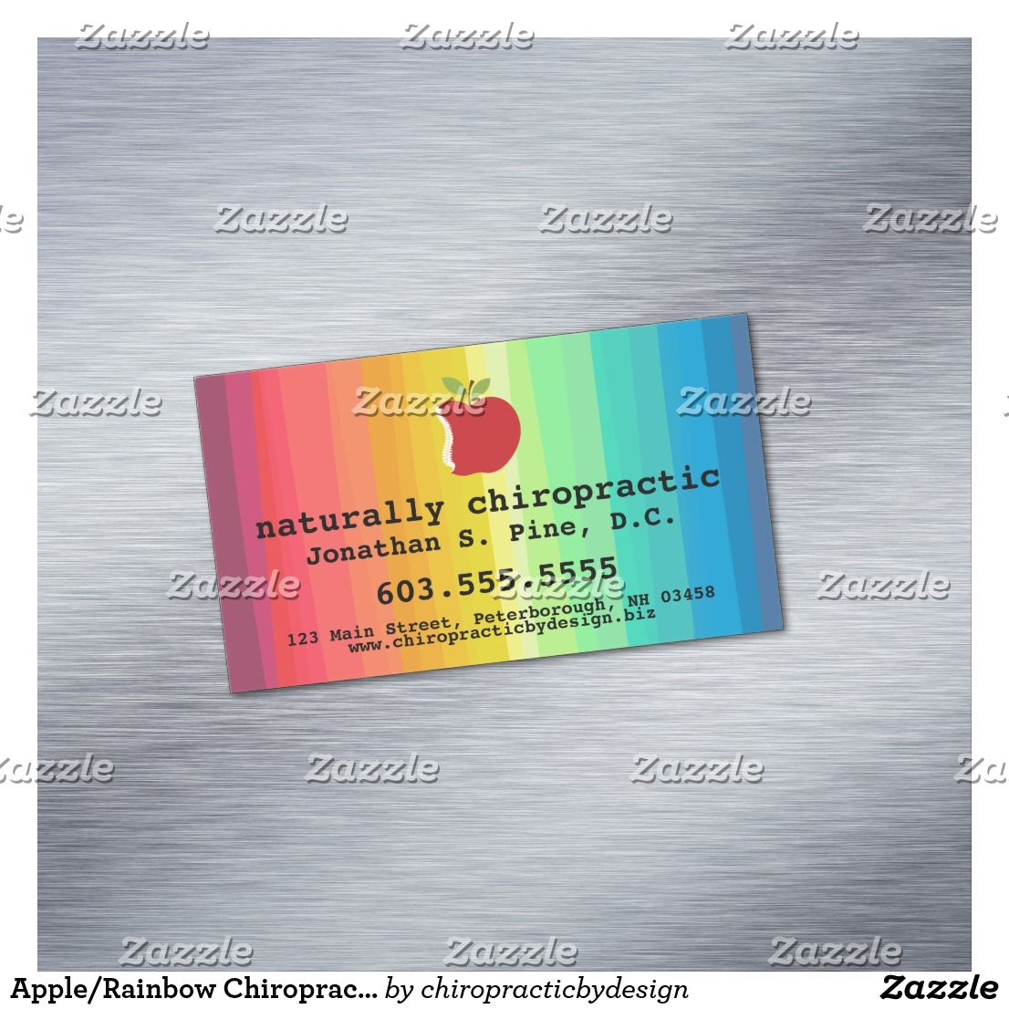 Apple Rainbow Chiropractic Magnetic Business Cards Zazzle Com Magnetic Business Cards Disney Invitations Engagement Party Invitations