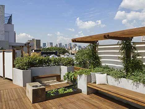 Urban oasis Jardín rural en una terraza moderna Diseño de cubierta