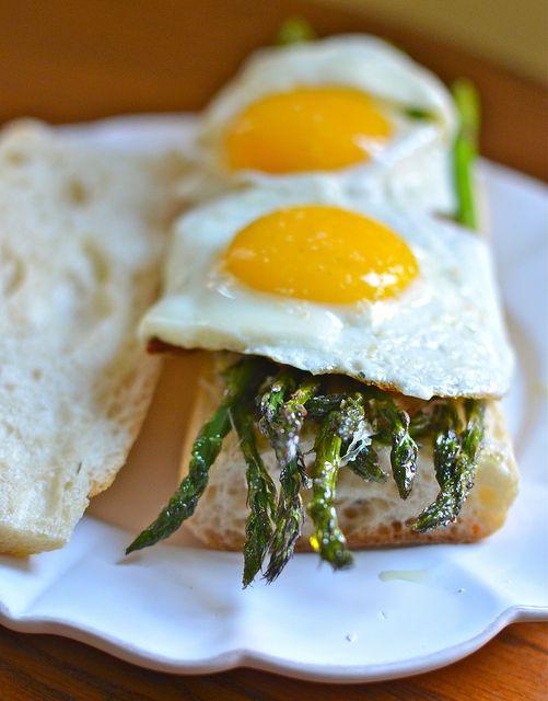 bacon, egg, & roasted asparagus baguettes by wordsandwhisks, via Flickr