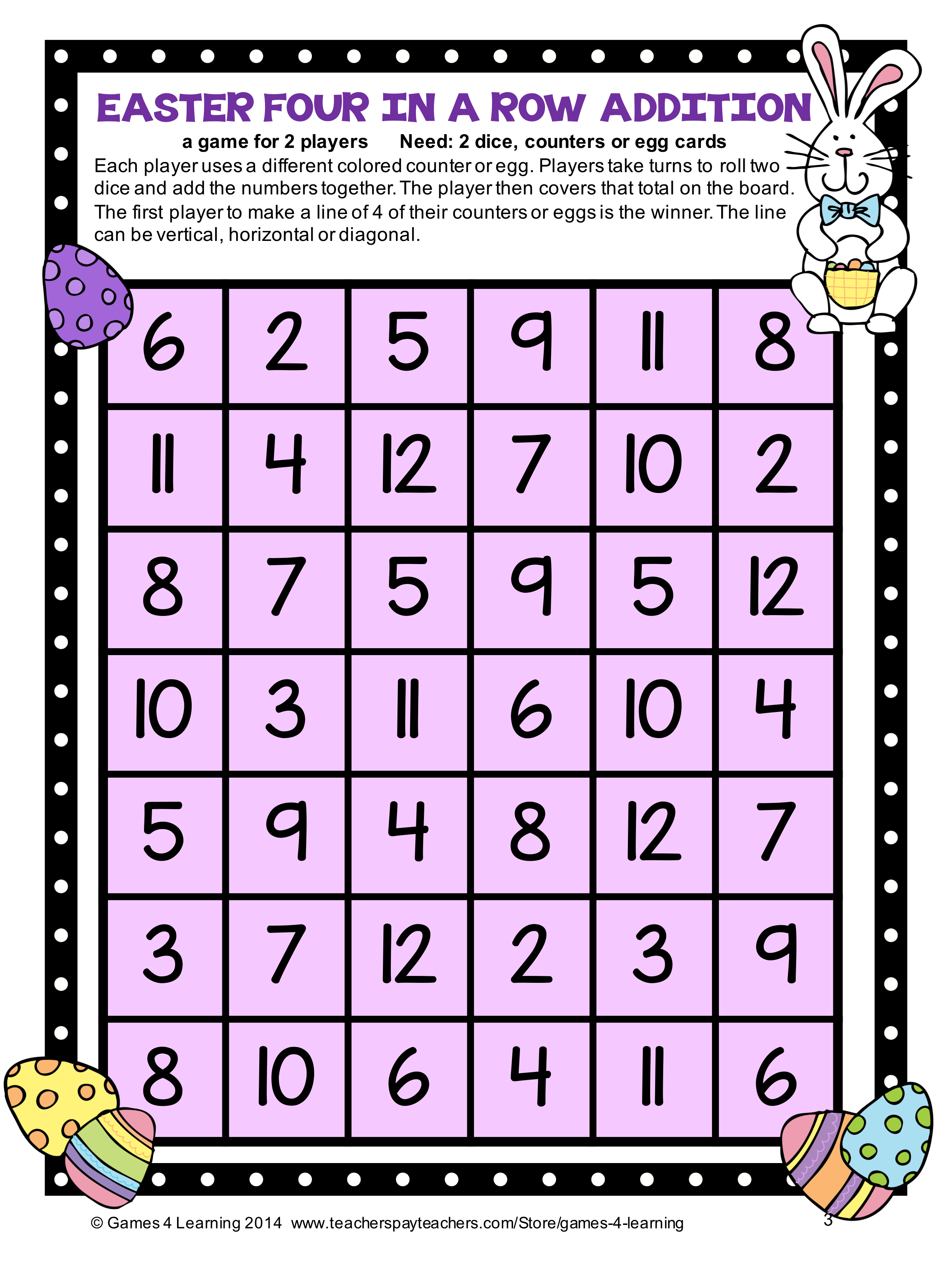 Free Easter Activities Easter Math Games And Easter Math