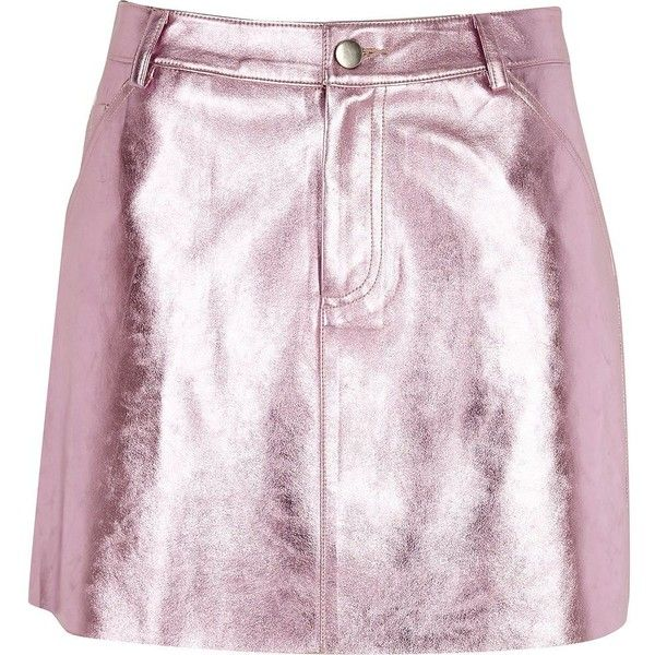798d631eb0 River Island Pink metallic faux leather mini skirt ($70) ❤ liked on  Polyvore featuring skirts, mini skirts, pink, women, short mini skirts,  button skirt, ...