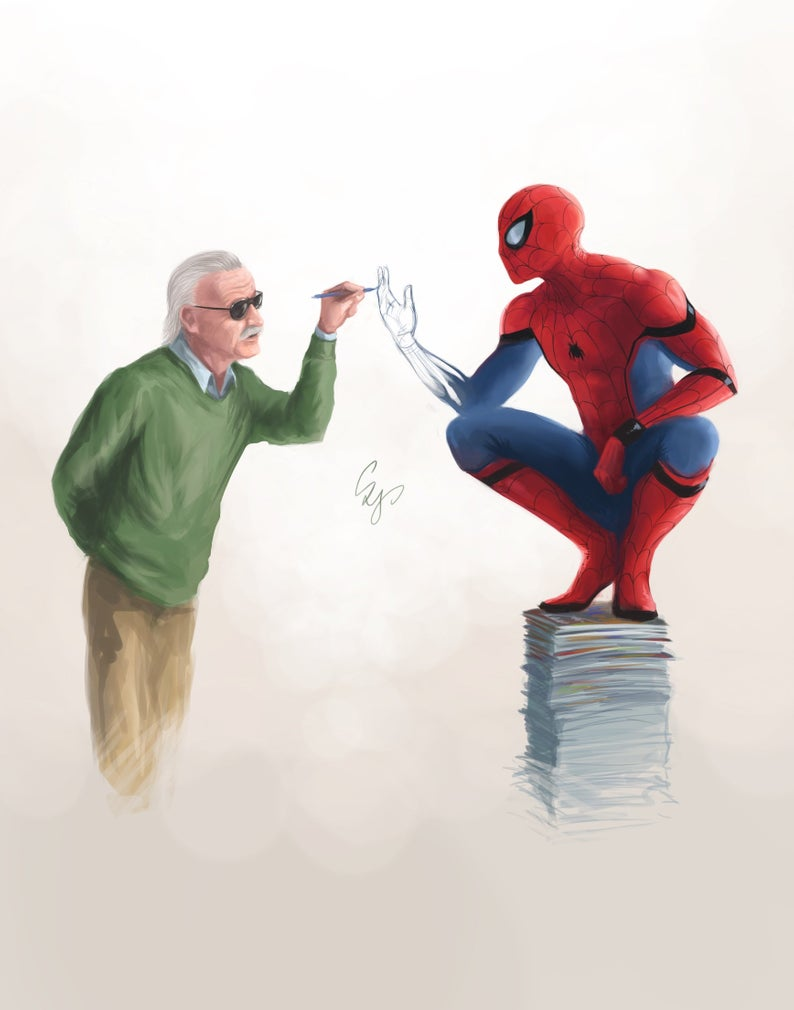 Art print / poster of Stan Lee and Spiderman