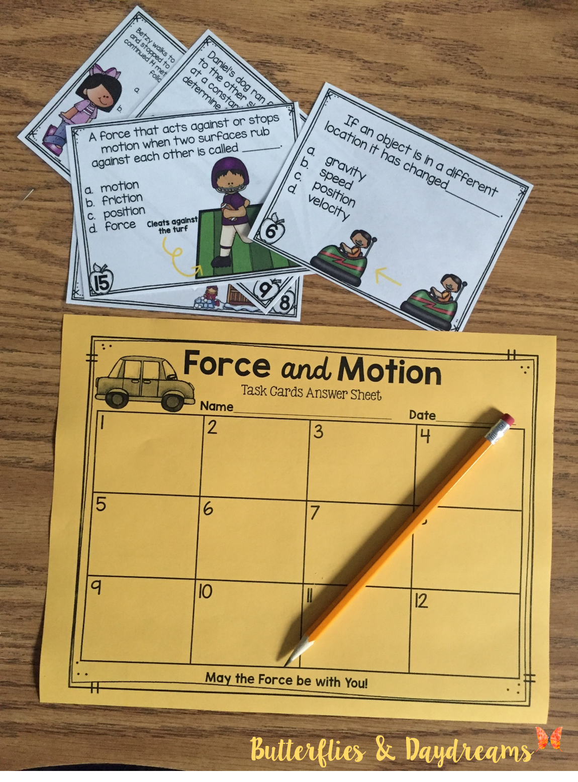 Force Amp Motion Task Cards Aligned To 4th Grade Science