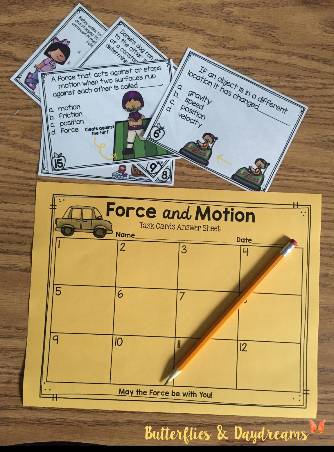 medium resolution of Force \u0026 Motion Task Cards} Aligned to 4th Grade Science Standards