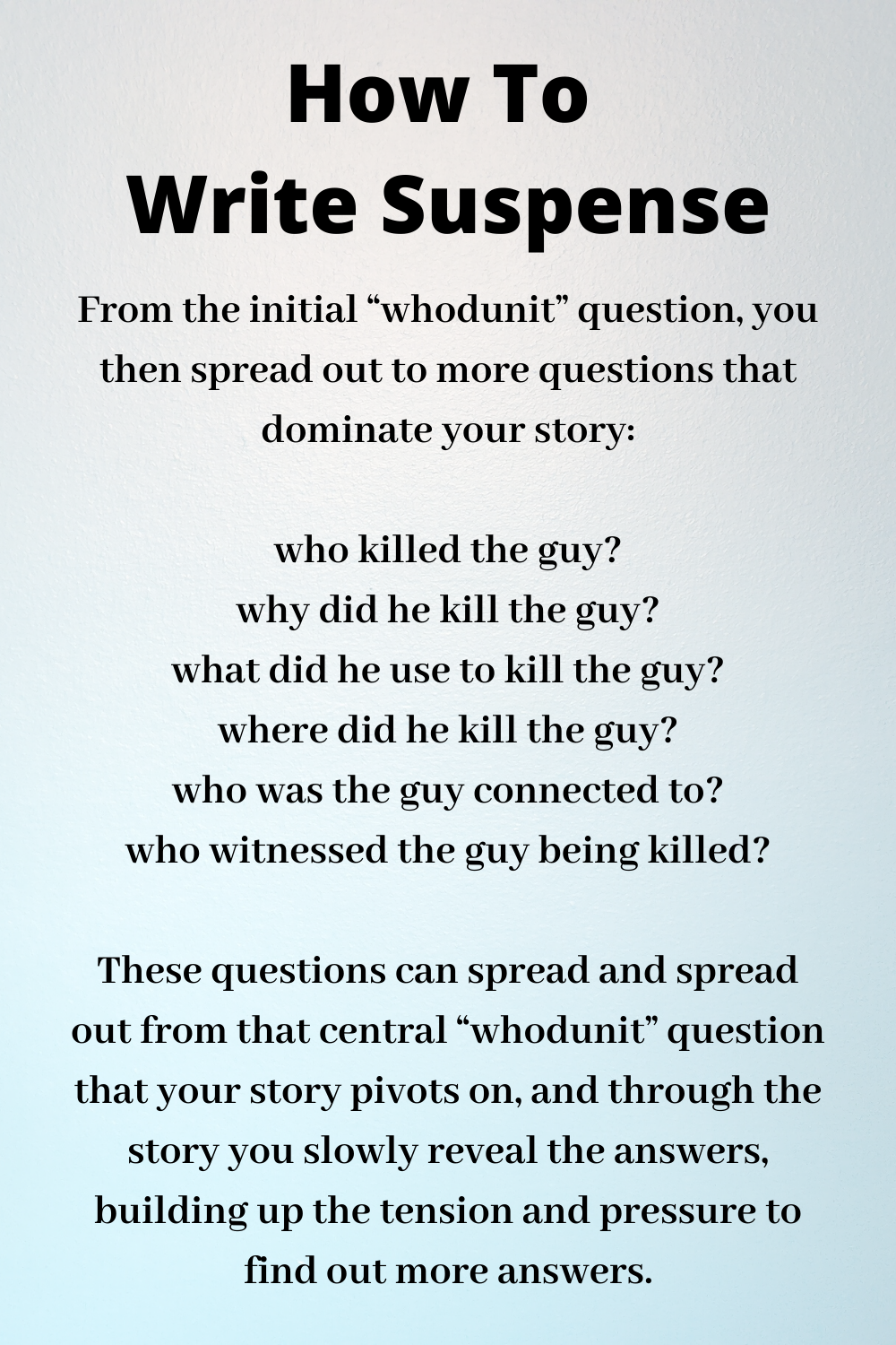 How To Write Suspense Mystery Writing Book Writing Tips Suspense Writing Prompts