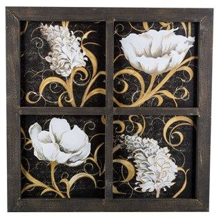 Black & Cream Window Pane Floral Framed Art Shop Hobby
