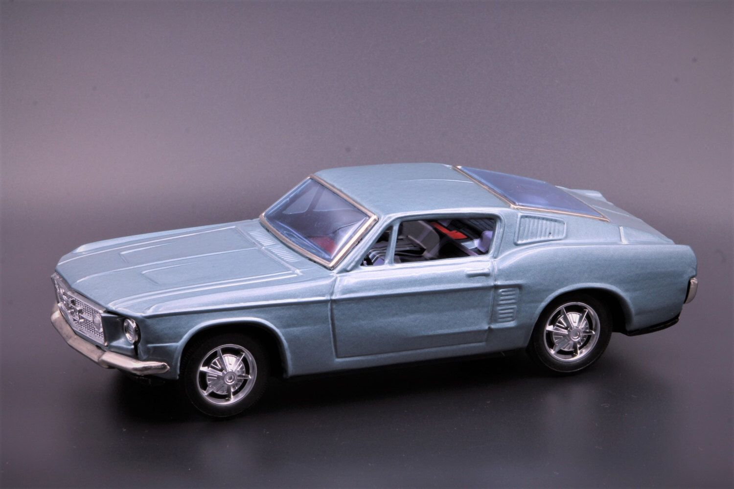 Vintage tin friction toy car by bandai japan 1960s ford mustang fastback 2