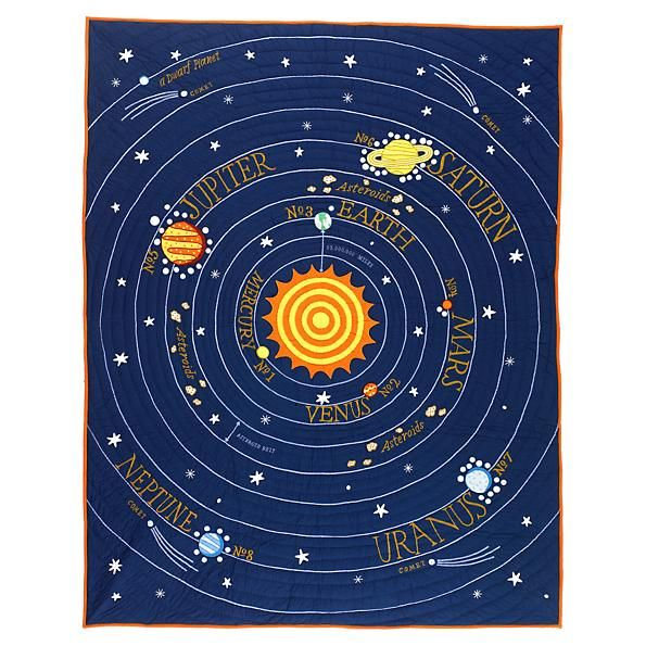 Solar System Bedding Outer Space 4pc Full Queen Comforter Set Navy