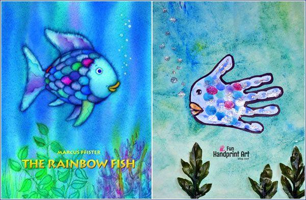 Rainbow Fish Book And Handprint Craft Rainbow Fish Book Rainbow Fish Rainbow Fish Crafts