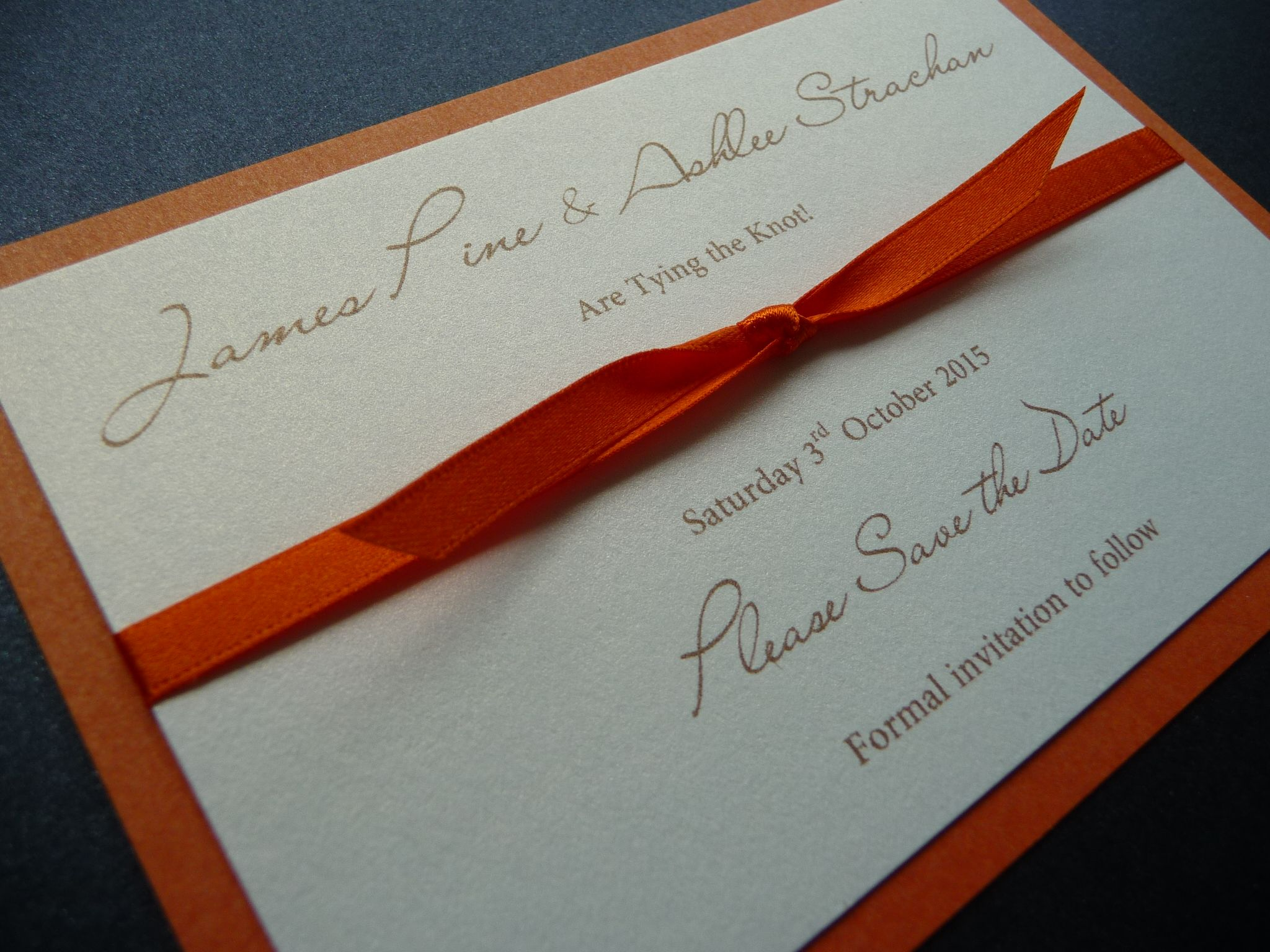 Bright Burnt Orange themed Wedding Save the Date cards   Our Save ...
