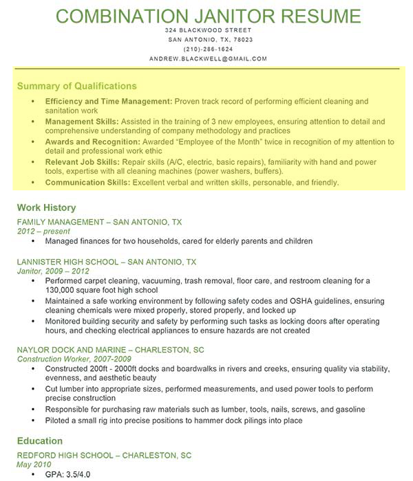 Janitor Combination Resume1 Png 600 700 Professional Profile Resume Resume Profile Resume