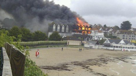 Major Fire Engulfs Seafront Hotel